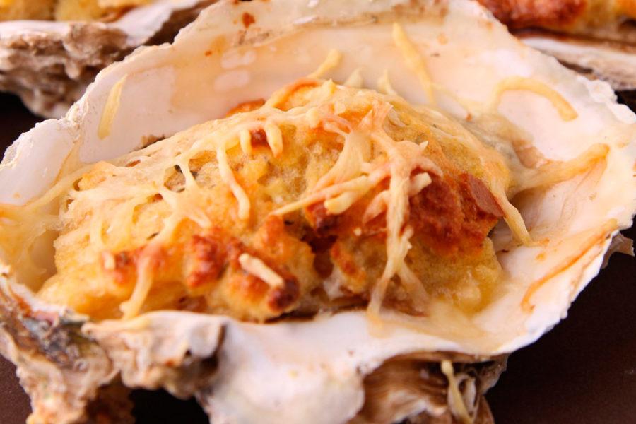 Huîtres chaudes gratinées au gingembre