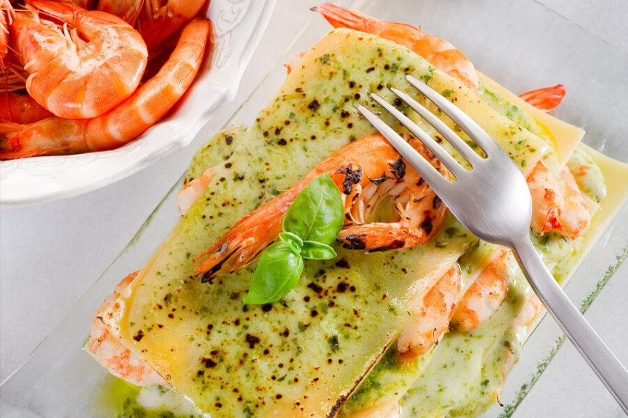 Lasagnes de crevettes au Pesto